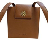BVLGARI Luggage Pebbled Leather Turnlock Italy Shoulder Bag