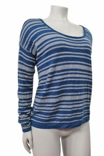 C&C California Gray Blue Sparkle Striped Knit Cashmere Wool Sweater