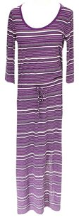Purple Maxi Dress by C&C California Striped Scoop Neck Drawstring