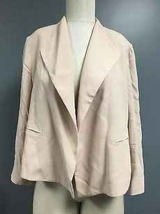 CAbi Cabi Light Pink Open Front Back Pleat No Collar Cropped Blazer Sma4445