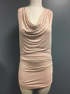 CAbi Light Sleeveless Draped Neck Stretch Ruched Side Sma4446 Top Pink