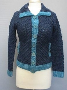 Cable & Gauge Blue Turquoise Wool Sweater