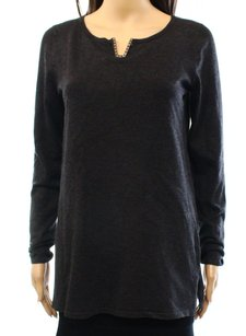 Cable & Gauge Knit Long Sleeve Top Gray