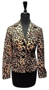 Cache Cache Brown Black Tan Button Down Animal Print Lined Blazer 0 Sma10715