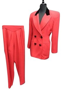 Cache Cache Red And Black Double Breasted Elastic Waist Pants Suit Sma3627