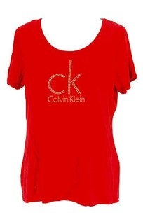 Calvin Klein Womens Rayon T Shirt red