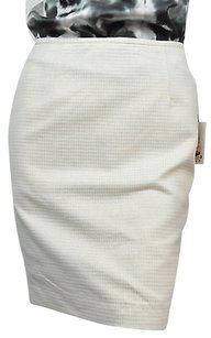 Calvin Klein And Gold Dogtooth Print Full Size 14p Msrp Skirt White