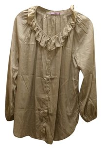 Calypso St. Barth Silk Ruffle Longsleeve Button Down Shirt Beige