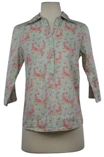 Calypso Womens Floral 34 Sleeve Shirt Cotton Casual Tunic