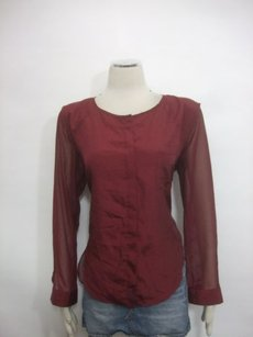 Campaigne Long Sleeve High Low Layer Top Burgundy