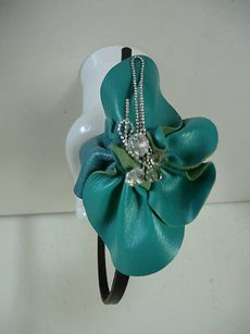 Cra Couture Jewelry Cara Couture York Green Brown Leather Stone Chain Flower Headband