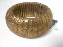 Cära Couture Jewelry Cara York Metallic Gold Sparkle Sueded Wrap Bangle Bracelet