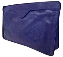 Carlos Falchi Vintage Buffalo Leather Black Clutch