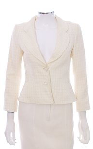 Carolina Herrera Cotton/silk Jacket Cotton Silk Linen Made In Spain Monogram 3/4 Sleeve Cream Blazer