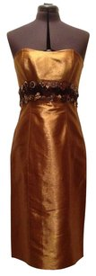Carolina Herrera Knee Length Strapless Sequined Couture Dress