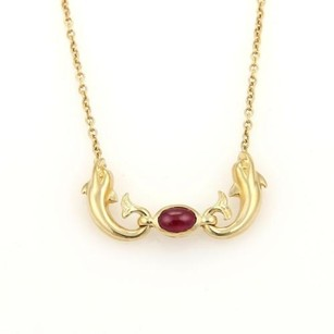 Carrera y Carrera Carrera Y Carrera Cabochon Ruby 18k Yellow Gold Double Dolphin Pendant Necklace