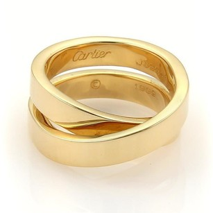 Cartier Carier Nouvelle Vague Paris 18k Gold Crossover Band Ring Eu 53-us 6.75