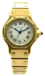 Cartier Carier Santos 18K Yellow Gold Sapphire Crystal Octagon Automaitc Ladies Watch