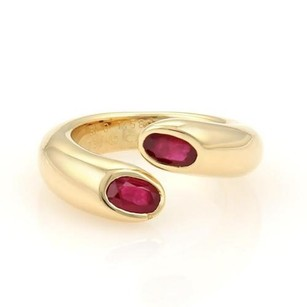 Cartier Cartier 1.20ctw Ruby 18k Gold Ellipse Deux Tetes Croisees Bypass Ring