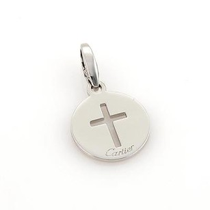 Cartier Cartier 18k White Gold Open Cross Round Shape Charm Pendant