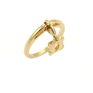 Cartier Cartier 18k Yellow Gold Double C Drop Charm Band Ring Eu 52-us