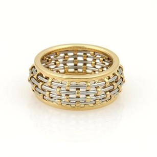 Cartier Cartier 18k Yellow Gold Steel Basket Weave Dome Band Ring