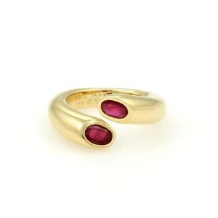 Cartier Cartier 18k Ygold 1.20ctw Ruby Ellipse Deux Tetes Croisees Bypass Ring Wbox