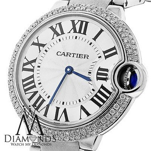 Cartier Cartier Ballon Bleu W69011z4 36mm Mid-size Watch Pave Diamond Bezel