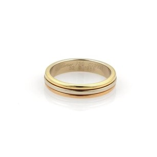 Cartier Cartier 18k Tri-color Gold 5mm Triple Stack Dome Band Ring Eu 52-us