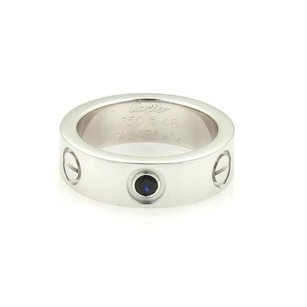 Cartier Cartier Love 18k White Gold 1 Blue Sapphire 5.5mm Band Ring 48-us