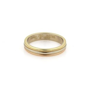 Cartier Cartier 18k Tri-color Gold 4mm Triple Stack Dome Band Ring Eu 55-us