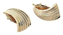 Cartier Vintage Cartier 14k Yellow Gold Fluted Clip On Designer Earrings