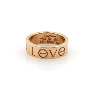Cartier Cartier Love Engraved 18k Rose Gold 5.5mm Wide Band Ring 48-
