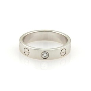 Cartier Cartier Love Mini 1 Diamond 18k White Gold 4mm Band Ring Eu 49-us