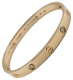 Cartier Cartier LOVE Rose Gold / Pink Gold 4 Diamonds Bracelet Bangle w/ Screwdriver and Box