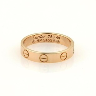 Cartier Cartier Mini Love 18k Rose Gold 3.5mm Ring Band Eu 49-us Wcert