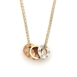 Cartier Cartier Mini Love Diamonds Rings Pendant 18k Gold Double Chain Necklace