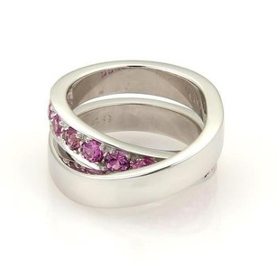Cartier Cartier Pink Sapphire Nouvelle Vague 18k Gold Crossover Band Ring 49
