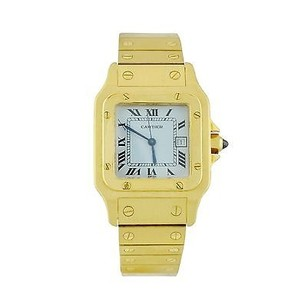 Cartier Cartier Santos 18k Yellow Gold White Roman Dial Date Automatic Mens Watch