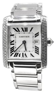 Cartier Cartier Tank Francaise Ladies 18k White Gold Diamond Bezel Watch