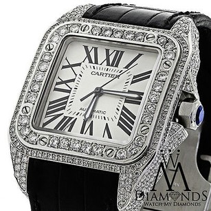 Cartier Diamond Cartier Santos Automatic Watch Larger 10ct Natural Diamond
