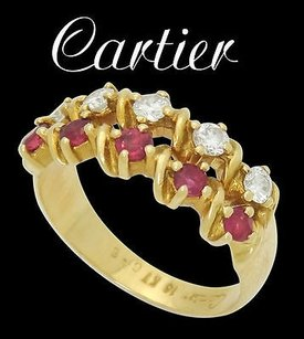 Cartier Estate Cartier 18k Yellow Gold Apx 0.40 Cts Tcw Diamond Ruby Row Ring R446