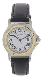 Cartier Ladies 18k Yellow Gold Ss Cartier Santos Octagon Automatic