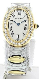 Cartier Ladies Cartier Baignoire 18k Yellow Gold Stainless Steel 2430 W Box