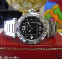 Cartier Ladies Cartier Pasha Ref. 2324 Stainless Steel 35mm Black Dial Watch