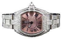 Cartier Ladies Cartier Roadster W62016v3 Square Pink Quartz Diamond Watch With 15 Ct