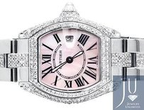 Cartier Ladies Cartier Roadster W62016v3 Square Quartz Pink Diamond Watch With 9.25 Ct