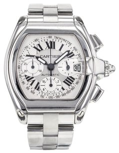 Cartier Men's XL Roadster Chronograph Stainless Steel Watch Tachymeter W62019X6 CRTSR66