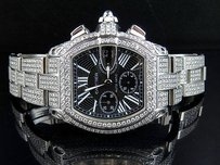 Cartier Mens Custom Cartier Roadster W62020x Chorograph Watch With 24.35 Ct Diamond