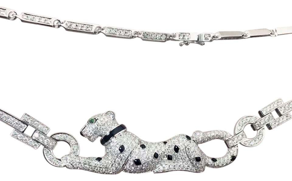 Cartier panther necklace 18k white gold diamond tsavorite garnet and onyx
